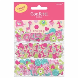 meisje eerste verjaardag confetti (safari)