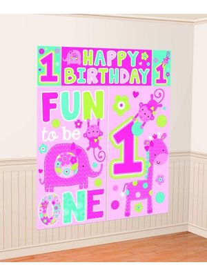 fun to be one 5-delige mega  poster (safari) meisje