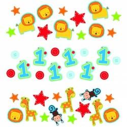 jongen eerste verjaardag confetti (safari)