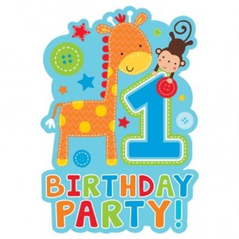 blauwe uitnodigingen 1e verjaardag (Safari) jongen