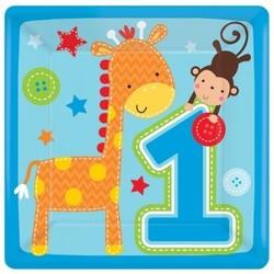 blauwe vierkante gebaksbordjes 1e verjaardag (Safari) jongen
