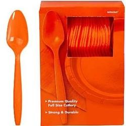 oranje plastic lepels per stuk