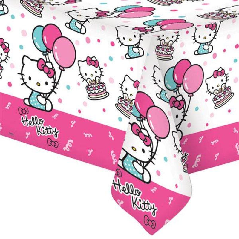 Hello Kitty tafelkleed met roze rand