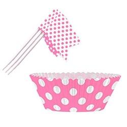 Roze stip cupcake setje (24 stuks)