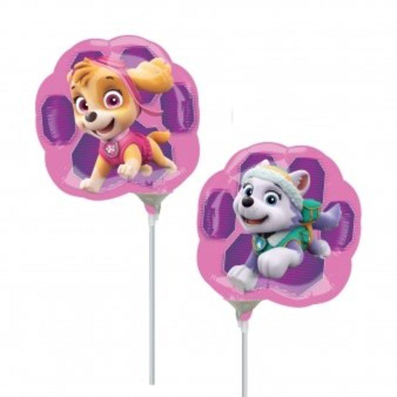 Roze paw Patrol ballonnen op een stokje