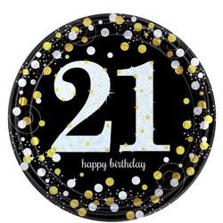 Gouden glitter borden leeftijd 21