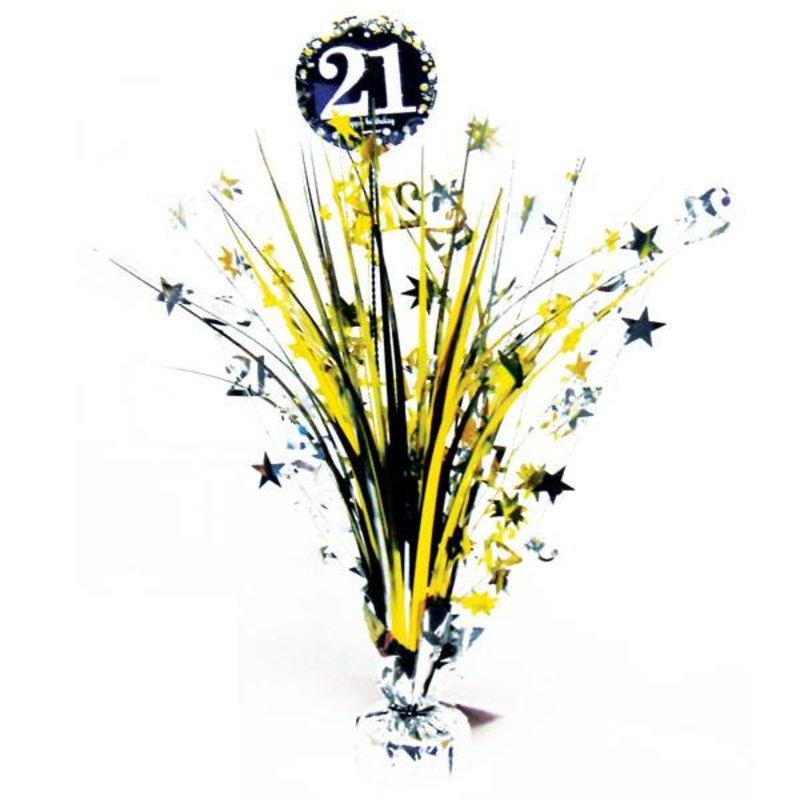 Gouden glitter tafelstuk 21 jaar