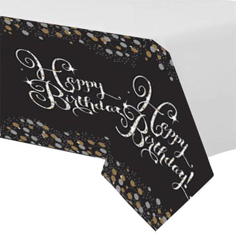 Gouden glitter tafelkleed happy birthday
