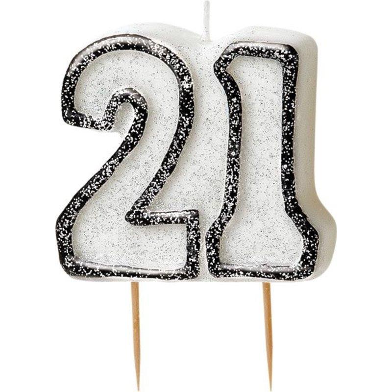 glitter kaarsen 21 jaar