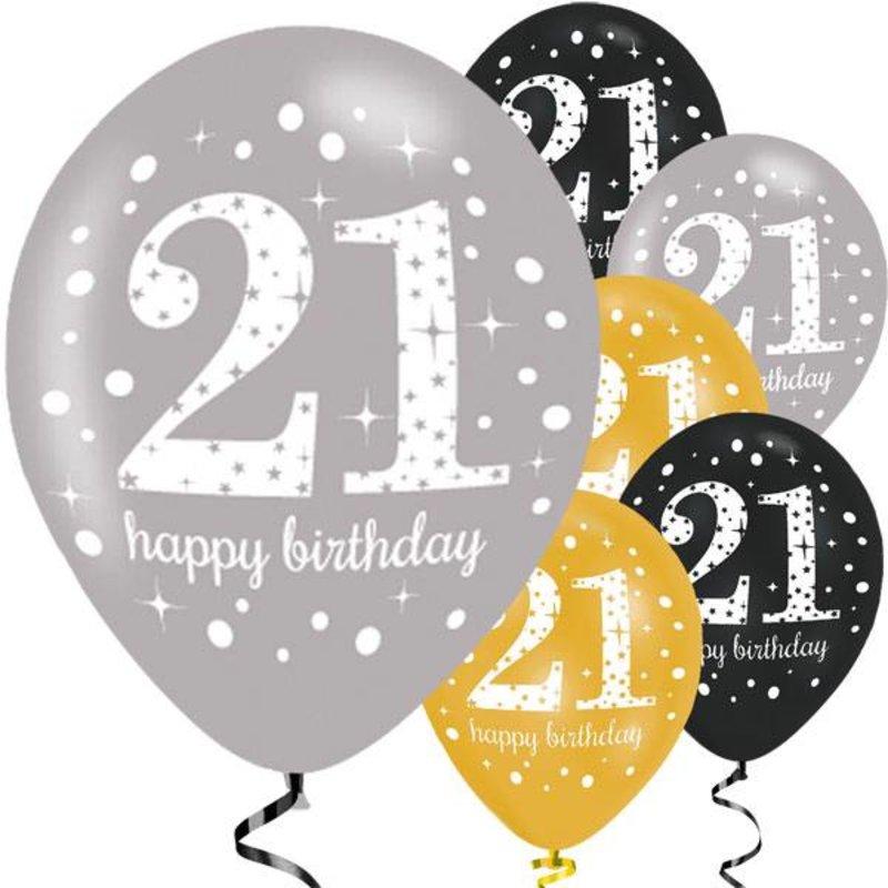 Gouden glitter ballonnen leeftijd 21