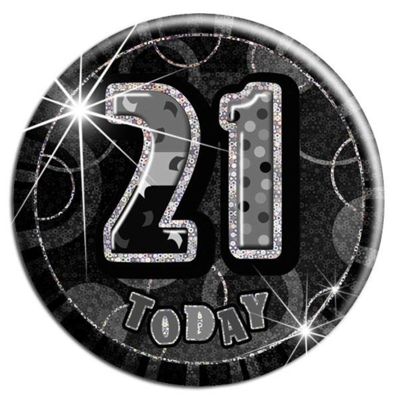 zwarte glitter badge 21 jaar