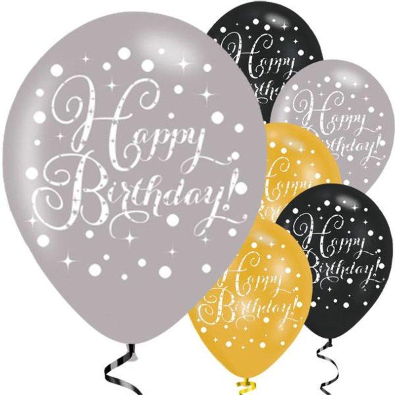 goud, wit en zwarte ballonnen happy birthday