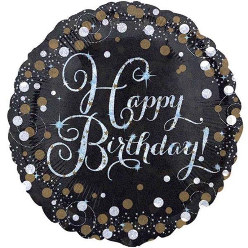 Gouden glitter zwarte folie ballon happy birthday