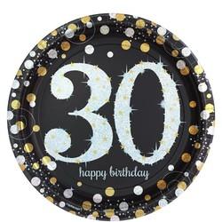Gouden glitter borden leeftijd 30