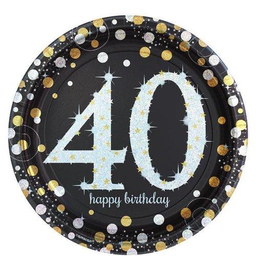 Gouden glitter borden leeftijd 40