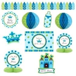 babyshower versiering - decoratie pakket jongen - blauw kroon