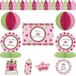 babyshower versiering meisje - roze - kroon