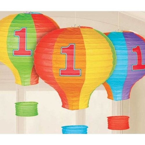 Gekleurde luchtbballon lampion 1 jaar