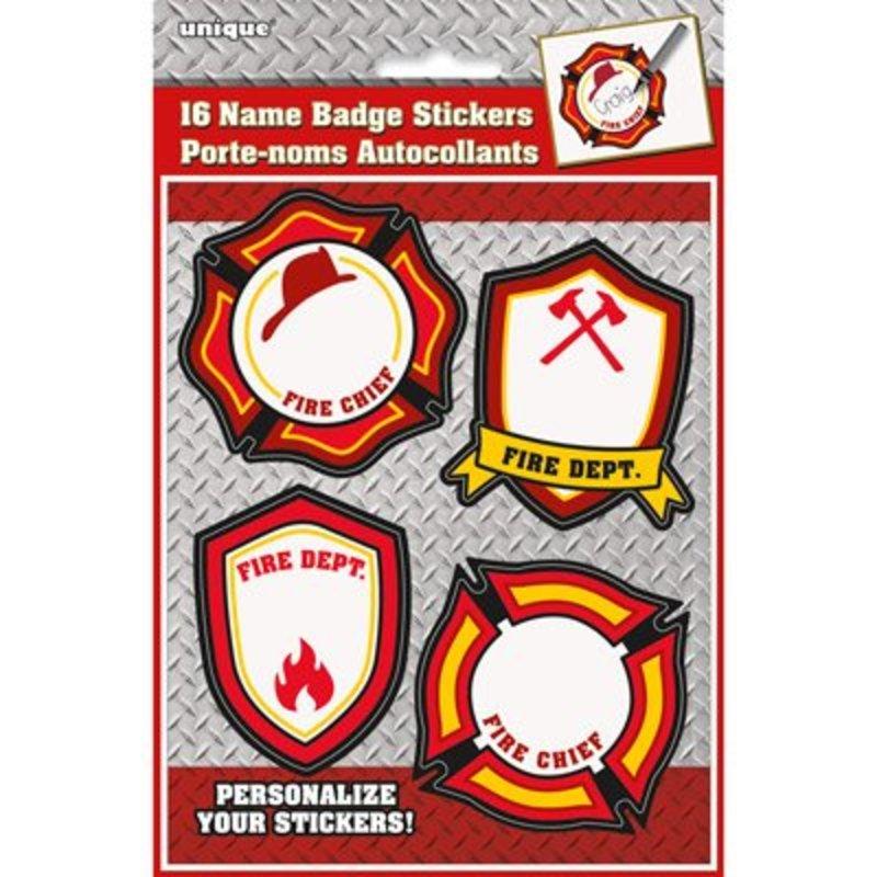 Brandweerfeestje naam stickers, 16 stuks