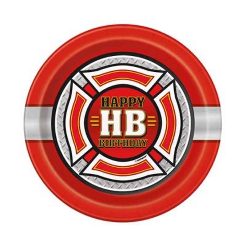 Brandweerfeestje, 8 kartonnen gebaksbordjes