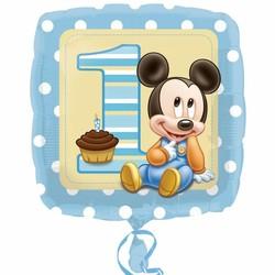 1 jaar Mickey Mouse folie ballon vierkant