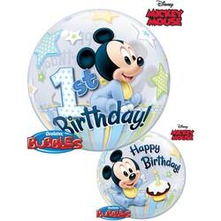 1 jaar Mickey Mouse bubble ballon (1 ballon)