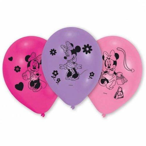 Minnie Mouse 10 ballonnen (roze licht/donker en paars)