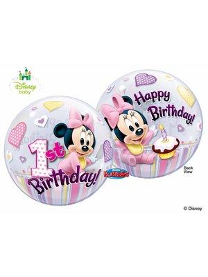 1 jaar Minnie Mouse bubble ballon (1 ballon) - Copy