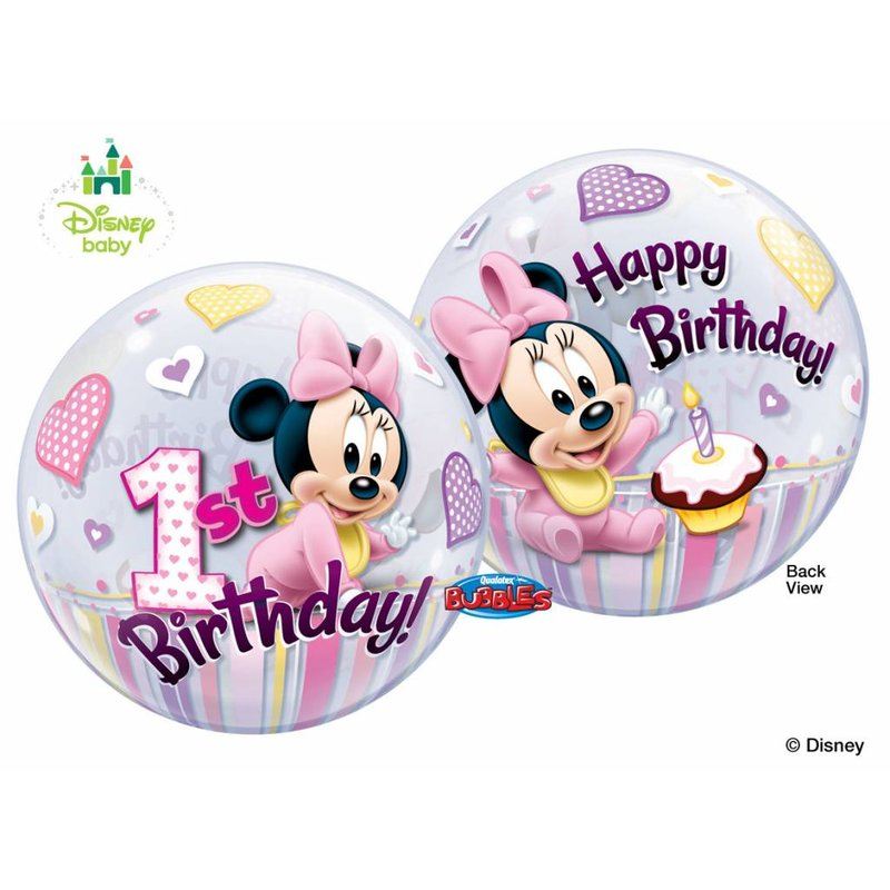 1 jaar Minnie Mouse bubble ballon (1 ballon) - Copy