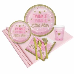 Twinkle Twinkle Little Star pink 1e birthday party pack