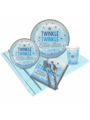 Twinkle Twinkle Little Star bleu 1e birthday party pack