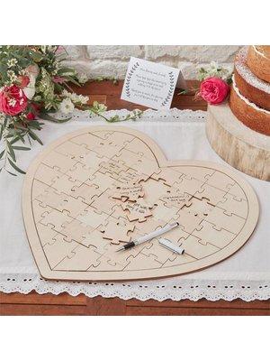 Gastenboek puzzel van hout. (hart vorm)