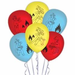 Ballonnen brandweerman Sam (rood, lichtblauw en geel)