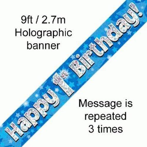 Banner 1 jaar blauw / zilver / ster