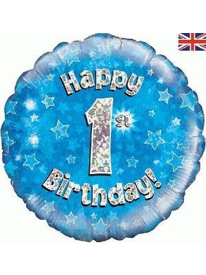 Folie ballon 1 jaar blauw / zilver / ster