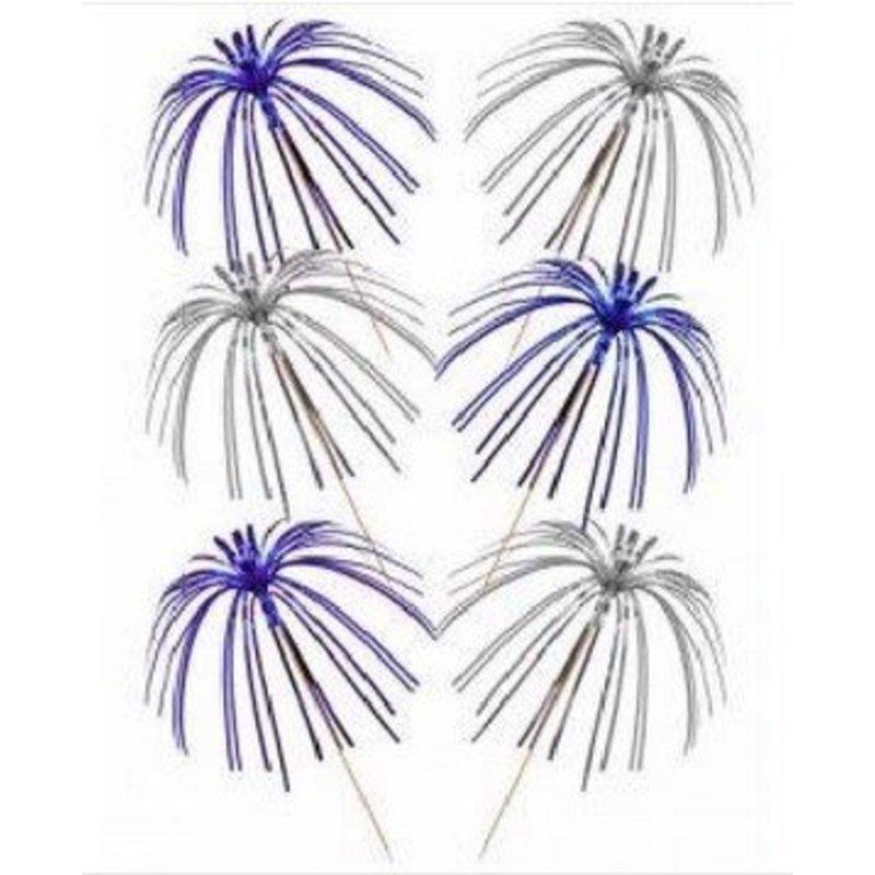 30 folie palm prikkers (zilver / blauw)