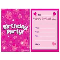 Uitnodigingen roze hologram met hartjes