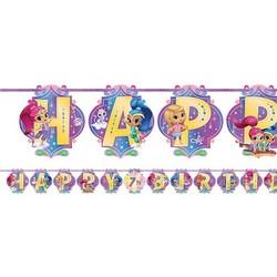 Shimmer en Shine feestartikelen mega slinger Happy Birthday met leeftijd sticker set