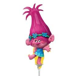 Trolls ballon Poppy, mini ballon gevuld met lucht