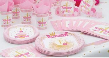 verjaardag versiering 1 jaar Hoera 1 jaar versiering meisje roze / goud voor een excl feestje  verjaardag versiering 1 jaar