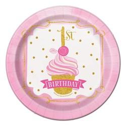 hoera 1 jaar versiering roze / goud: gebakbordjes
