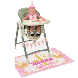 hoera 1 jaar versiering roze / goud: kinderstoel versieringset