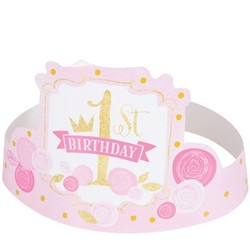 hoera 1 jaar versiering roze / goud: feestkroontjes