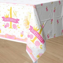hoera 1 jaar versiering roze / goud: tafelkleed