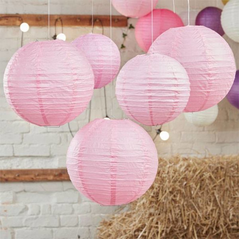 5 baby roze lampionnen