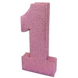 Roze 1 met glitters