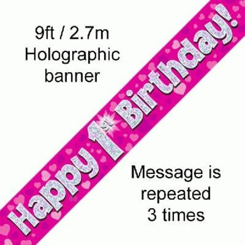 Banner 1 jaar roze met hartjes