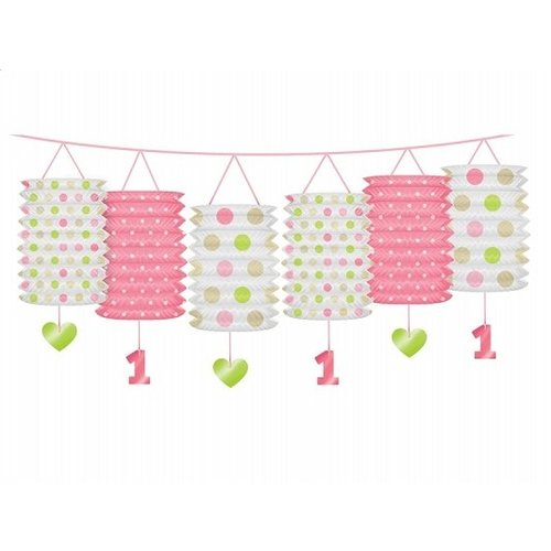 1 jaar versiering lantaarn slinger roze / lime
