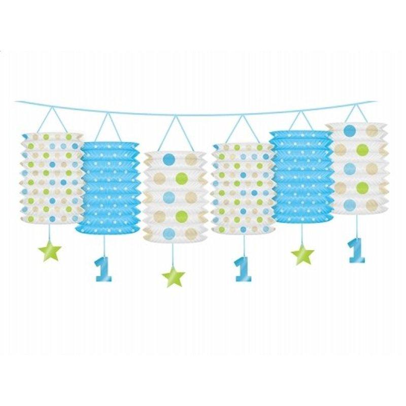 1 jaar versiering lantaarn slinger blauw / lime