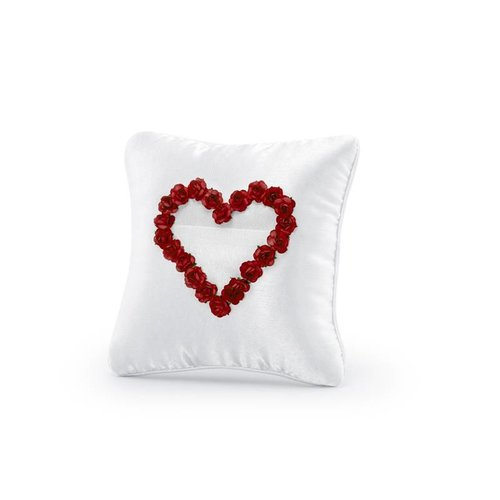 Ringkussen rood hart roosjes (wit)